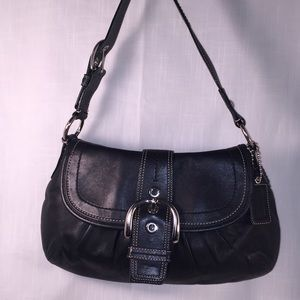 Coach Black Leather Soho Hobo Bag Purse